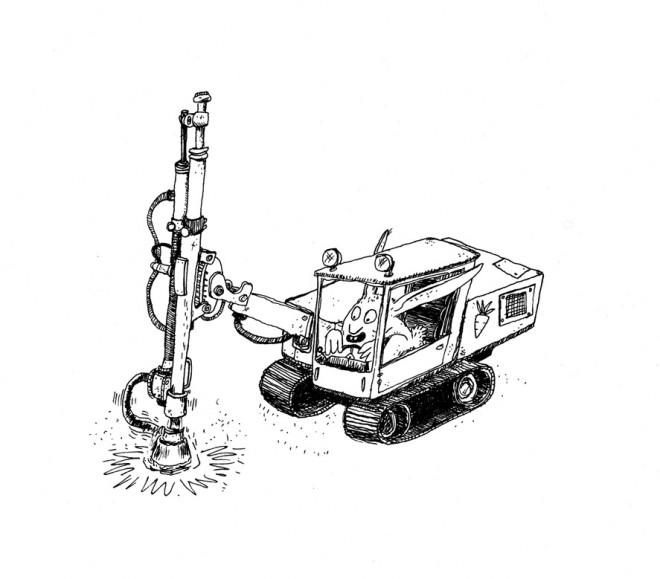 forage avec marteau hors du trou par Thibault